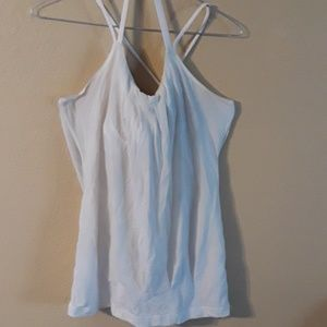 Lululemon White Strappy Tank with Bra Size 6